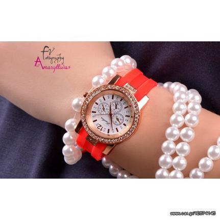 Πορτοκαλί γυναικείο ρολόι χειρός με λουράκι σιλικόνης και διακοσμητικά  κρυσταλλάκια by Amaryllidas Art collection - Luobos 22428 Παλιά Σχεδίαση 2c1725abded