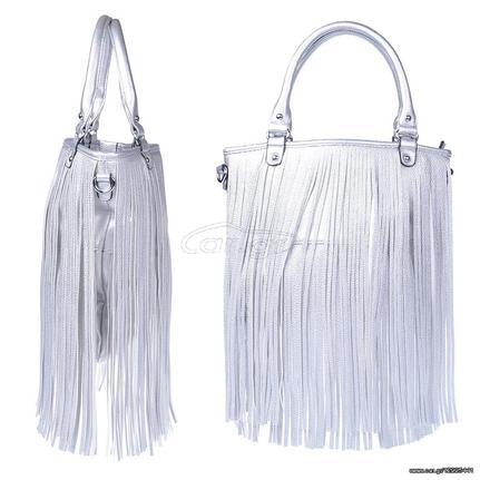 Γυναικεία τσάντα ώμου με κρόσια - Ασημί - OEM 30982 - € 24 EUR - Car.gr ec7e75640ae