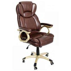 22963d51bc98 Καρέκλα Γραφείου Δερμάτινη Κλασική Χρυσό σκελετό NA-Καφέ