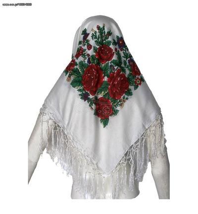 4c7ab749a4 Παραδοσιακή μαντίλα με κρόσσια 100x100cm MARK791 Αξεσουάρ Παραδοσιακής  Στολής - WHITE Παλιά Σχεδίαση
