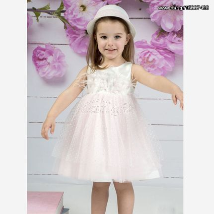 72d46ef119cb Βαπτιστικό Φόρεμα Mi Chiamo K4149 Λευκό - Ροζ - € 138 EUR - Car.gr