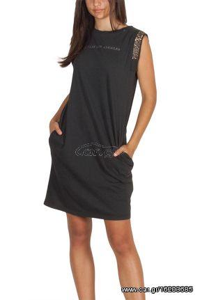 3d255559376 Replay μαύρο φόρεμα αμάνικο με τσέπες και τρουκς - w9413-000-22038g ...