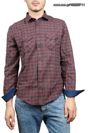 71227c3a690f Ανδρικό μπορντό-γκρι καρό πουκάμισο φανέλα - w17169-attic-bor - € 23 ...