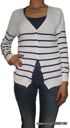 257666c82df0 Agel Knitwear πλεκτό ζακετάκι ριγέ λευκό-μπλε - s15414-wh - € 17 EUR ...