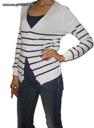 6d64e58542b4 Agel Knitwear πλεκτό ζακετάκι ριγέ λευκό-μπλε - s15414-wh - € 17 EUR ...
