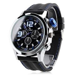 d5422a3000 Men s Blue Sporty Quartz Analog Wrist Watch with Rubber Band Black and  Silver Frame OEM MBSQAWWRBB