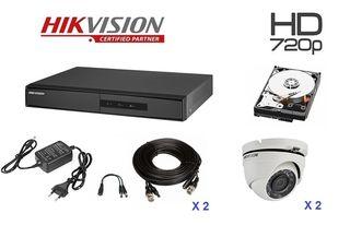 5d0c3d9bf1 Hikvision HK.011 (Σετ Καταγραφικό 4ch + 2 dome 1.0Mp αδιάβροχες +Καλωδίωση