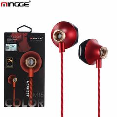 MINGGE Brand M15 Headphone High Quality Original Earphone Wired Control Sport Headphones Stereo Super Bass Head With MIC Red