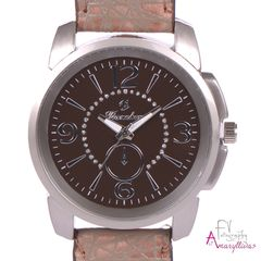4e0ff400f8 Γυναικείο ρολόι χειρός με καφέ ανάγλυφο λουρί και καφέ καντράν by  Amaryllida s Art collection - 22379
