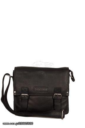 2ebff001e4 Hill Burry δερμάτινη τσάντα ταχυδρόμου μαύρη με καπάκι - vb100241 ...