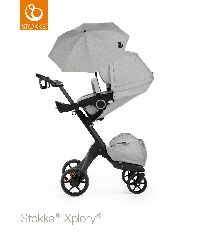 6586e981250 Stokke Xplory v5 Black Chassis with Grey Melange seat Stokke Xplory v5 Black  Chassis with Grey Melange seat