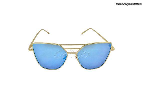 ac37d4b4c9 Γυναικεία Γυαλιά Ηλίου Καθρέφτης Flat top Sunglasses με Χρυσό Μεταλλικό  σκελετό και Μπλε Φακό - OEM Παλιά Σχεδίαση
